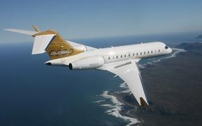 Картинка Небо, Горизонт, Полет, Земля, Высота, Самолёт, Пассажирский, Реактивный, 5000, Bombardier, Global
