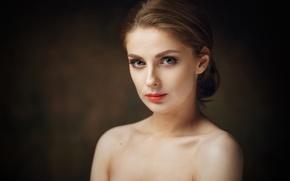 Картинка взгляд, девушка, фон, милая, портрет, прическа, light, шатенка, плечи, studio, beauty, боке, russian, Tamara, Тамара …