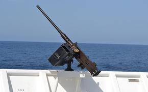 Картинка море, пулемёт, Браунинг, станковый, борт, M2HB