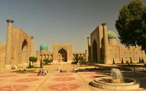 Картинка Город, Здания, Самарканд, Площадь ''Регистан'', Голубые купола