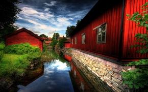 Обои красный, дома, река, природа