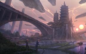 Картинка закат, замок, фантазия, фантастика, китай, арт, империя, spaceship