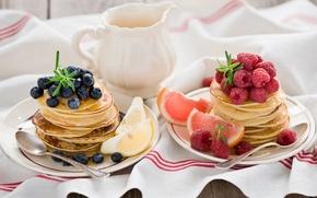 Картинка ягоды, малина, лимон, еда, черника, тарелки, фрукты, цитрусы, грейпфрут, блинчики, ложки, оладьи, Anna Verdina