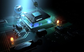 Обои процессор, демонтаж, робот, материнка