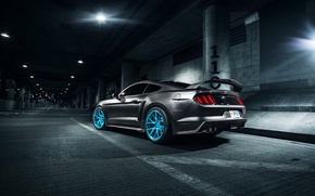 Картинка Rear, Wheels, Roush X, Vossen, Blue, Mustang, Ford