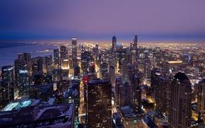 Картинка USA, United States, Chicago, Illinois, skyline, dusk, architecture, downtown, America, United States of America, sears …