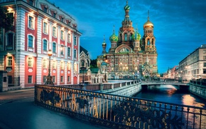 Картинка вечер, фонари, Санкт-Петербург, Russia, питер, St. Petersburg, Храм Спас на Крови, Канал Грбоедова