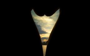 Обои природа, озеро, силуэт, закат