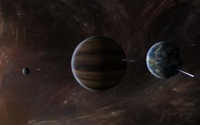 Картинка звезды, планеты, газовый гигант, межзвездный газ