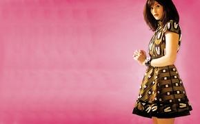 Картинка модель, платье, актриса, розовый фон, Джемма Артертон, Gemma Arterton