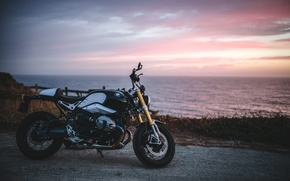 Картинка море, закат, BMW, горизонт, R Nine T