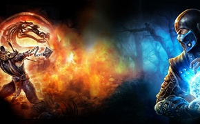 Обои scorpion, game, mortal kombat, sub zero