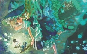 Картинка улыбка, фонарь, метла, звездочки, touhou, art, оборки, Kirisame Marisa, шляпа ведьмы, ведьмочка, Touhou Project, Amatou, …
