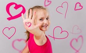 Картинка радость, улыбка, розовый, сердце, рисунок, ребенок, девочка, heart, маленькая, color, child, little girl, drawing