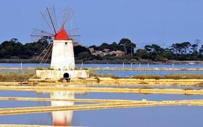 Картинка небо, вода, деревья, ветряная мельница
