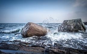 Обои море, шторм, Норвегия, небо, скалы, камни, брызги