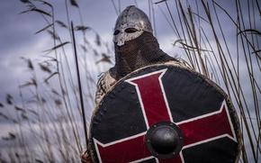 Картинка меч, воин, шлем, щит, кольчуга, викинг