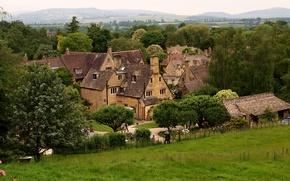 Картинка трава, деревья, город, фото, Англия, дома, Великобритания, Tewkesbury