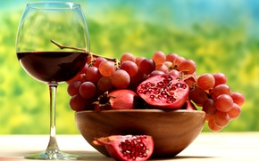 Обои вино, виноград, фрукты, гранат