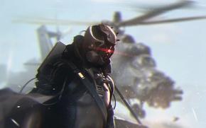 Картинка арт, солдат, вертолет, шлем, циклоп