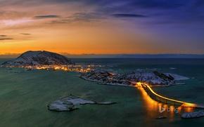 Картинка море, небо, закат, мост, город, огни, остров, гора, Норвегия, Тромсё