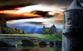 Картинка небо, мост, башня, жеребец, Замок