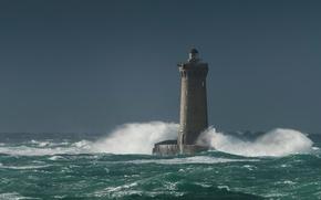 Картинка море, брызги, шторм, маяк, башня