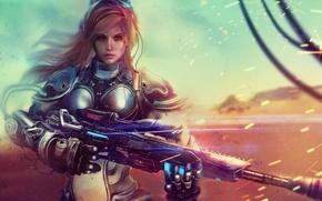 Картинка девушка, арт, солдат, блондинка, StarCraft, sniper rifle, Nova Terra
