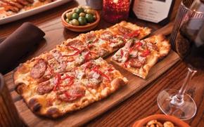 Обои стол, вино, бокал, еда, Италия, доска, пицца, pizza