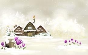 Обои Новый Год, Домики, Зима, Белый