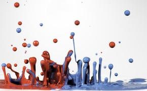 Картинка капли, макро, брызги, синий, красный