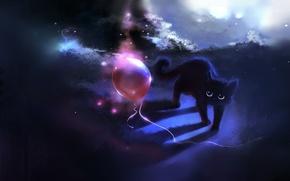 Обои кошка, рисунок, воздушный шарик, шар, cat, apofiss