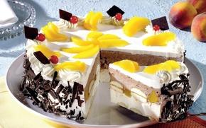 Обои сладости, торт, десерт, дольки, персик, вкусно, фрукты, еда, пища, желтый