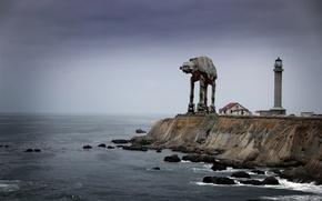 Картинка побережье, маяк, робот