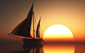 Картинка sky, sea, sunset, sun, romantic, beauty, orange, boat, emotions, sailing