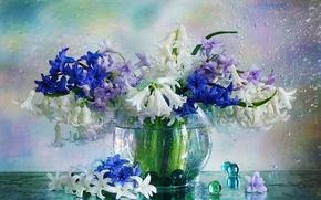 Картинка вода, капли, шарики, цветы, ваза, гиацинты