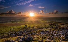 Картинка поле, пейзаж, закат, England, Merrivale