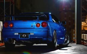 Картинка car, Nissan, ниссан, blue, gtr, r34, машина из фильма