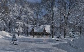 Картинка зима, лес, снег, деревья, пейзаж, огни, дом, лампочки