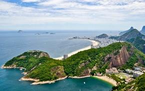 Картинка sea, mountains, boats, Brazil, Brasil, Rio de Janeiro, islets, Copacabana Beach