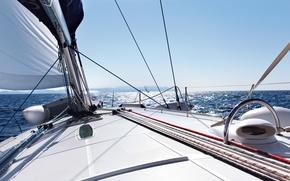 Картинка море, волны, небо, свобода, облака, брызги, отдых, яхта, горизонт, простор, парус, штиль, белая, палуба, summer, …