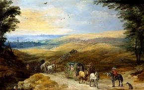 Картинка картина, повозка, всадник, Пейзаж с Путниками, Ян Брейгель старший