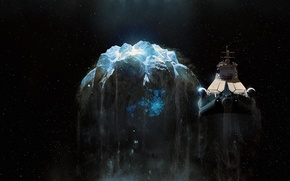 Картинка космический корабль, астероид, фантастика, космос, арт