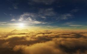 Обои небо, солнце, облака, горы
