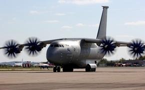 Картинка аэродром, российский, военно-транспортный, Ан-70, среднемагистральный, самолёт нового поколения