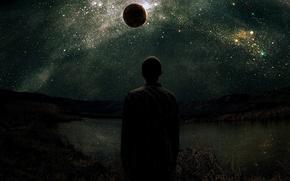 Картинка небо, звезды, горы, озеро, планета, Человек