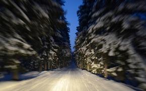 Картинка зима, дорога, макро, снег, деревья, движение, Финляндия, Finland