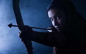 Картинка лучница, стиль, взгляд, боевой, smoke background, archer, наконечник, girl, красивая, девушка, military, амуниция, style, Katya ...