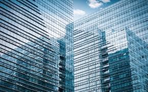 Картинка стекло, город, отражение, здание, небоскреб