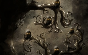 Картинка глаза, птицы, дерево, ветви, арт, совы, кривое, мрачность